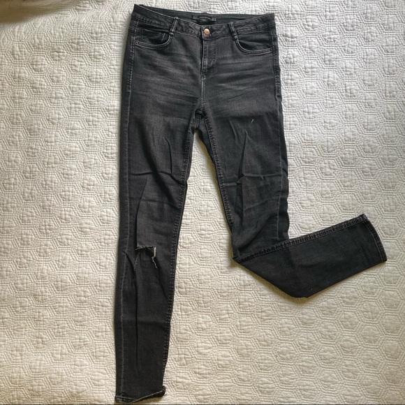 Zara DIY plaid black mid-rise jeans